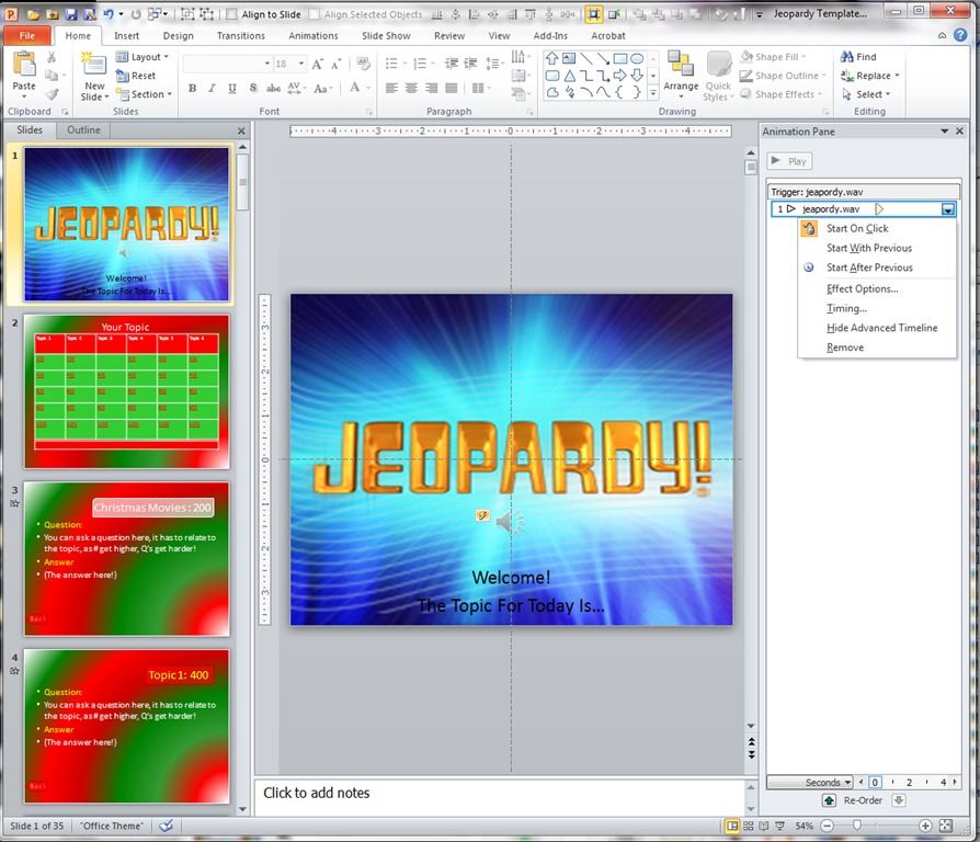 Making A Jeopardy Game Board In Powerpoint To Supplement Your