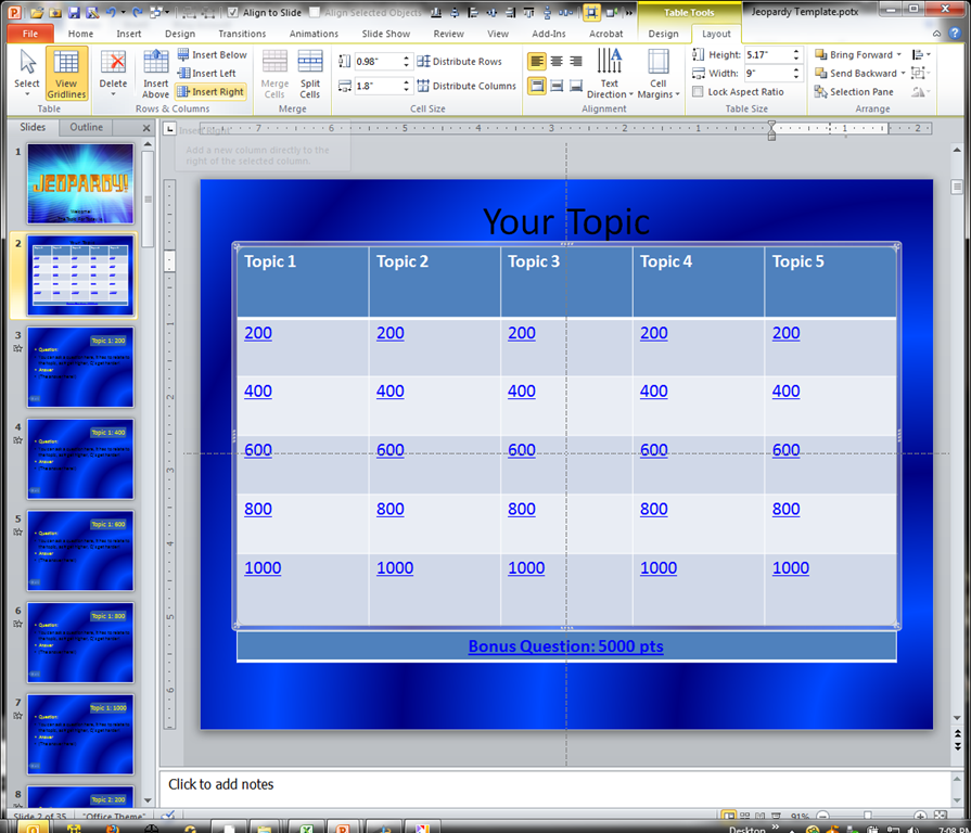 making a jeopardy game board in powerpoint to supplement your, Powerpoint