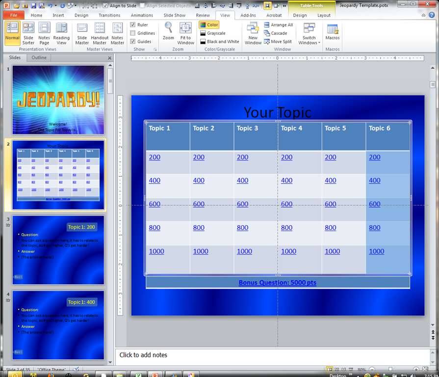 making a jeopardy game board in powerpoint to supplement your light and buzzer system and. Black Bedroom Furniture Sets. Home Design Ideas
