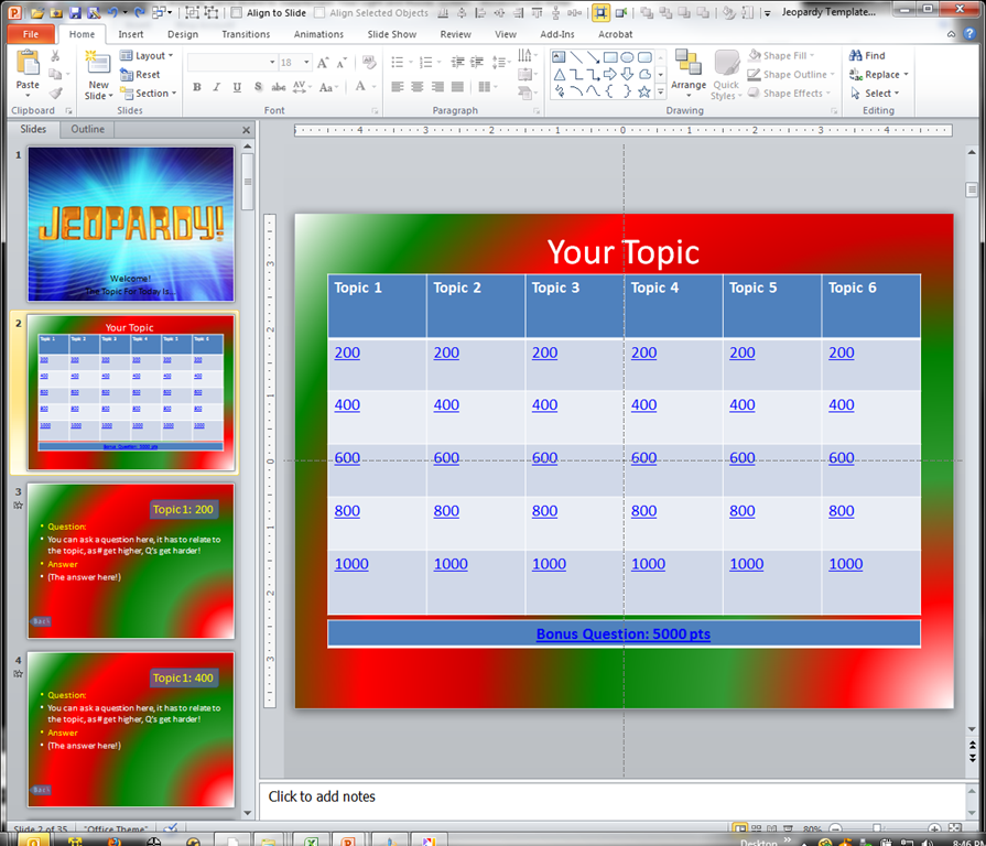 making a jeopardy game board in powerpoint to supplement your, Modern powerpoint