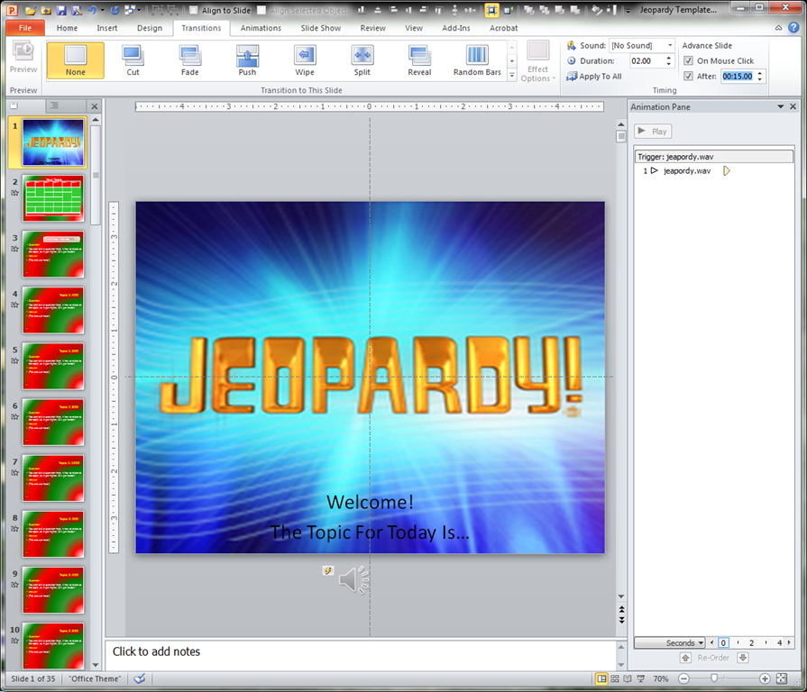 Making a jeopardy game board in powerpoint to supplement for Jepordy template