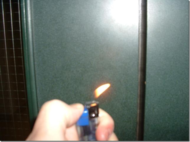 Flame at lab door 02